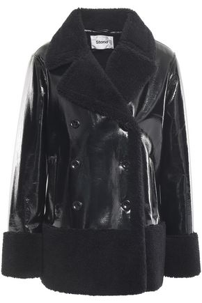 STAND STUDIO Johanne double-breasted faux shearling and vinyl coat