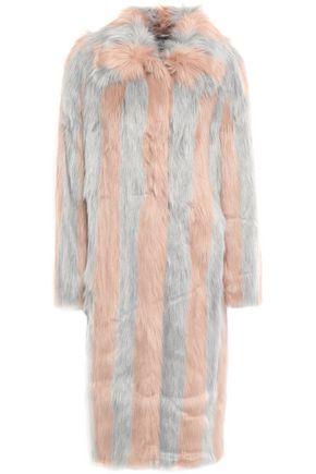 STAND STUDIO Striped faux fur coat