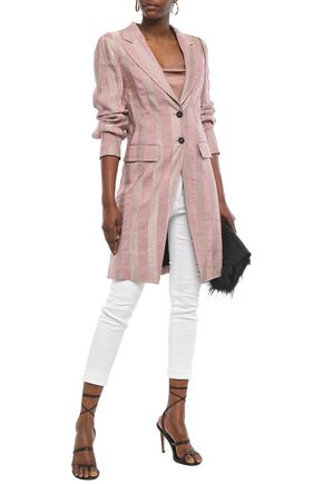Ann Demeulemeester Woman Striped Linen-Blend Jacquard Coat Antique Rose
