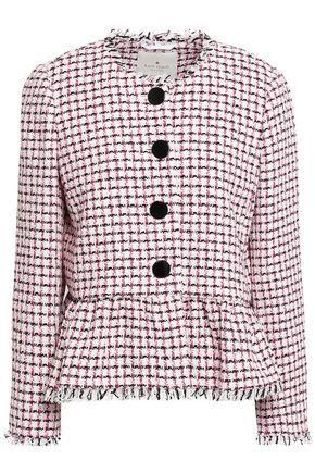 KATE SPADE New York Frayed cotton-blend tweed peplum jacket