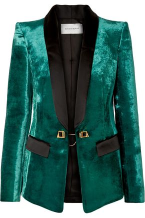 ZUHAIR MURAD Embellished satin-trimmed velvet blazer