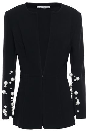 OSCAR DE LA RENTA Faux pearl-embellished wool-blend crepe blazer