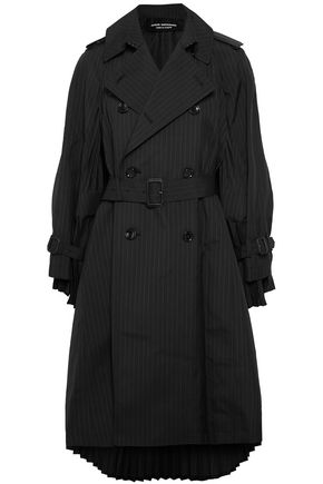 JUNYA WATANABE Double-breasted pleated pinstriped wool-blend trench coat