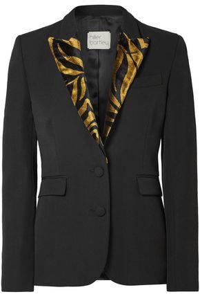 HILLIER BARTLEY Zebra-print velvet-trimmed wool-blend blazer