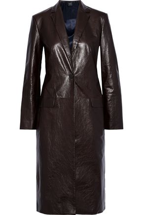 THEORY Cracked-leather coat