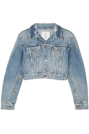 TRE by NATALIE RATABESI Cropped distressed denim jacket