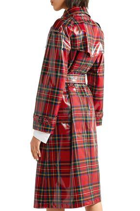 BURBERRY Coated-tartan wool trench coat