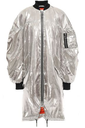 MARQUES' ALMEIDA Oversized ruched metallic shell bomber jacket