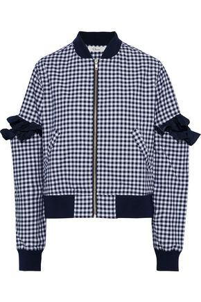 CLU Cutout gingham cotton-blend bomber jacket