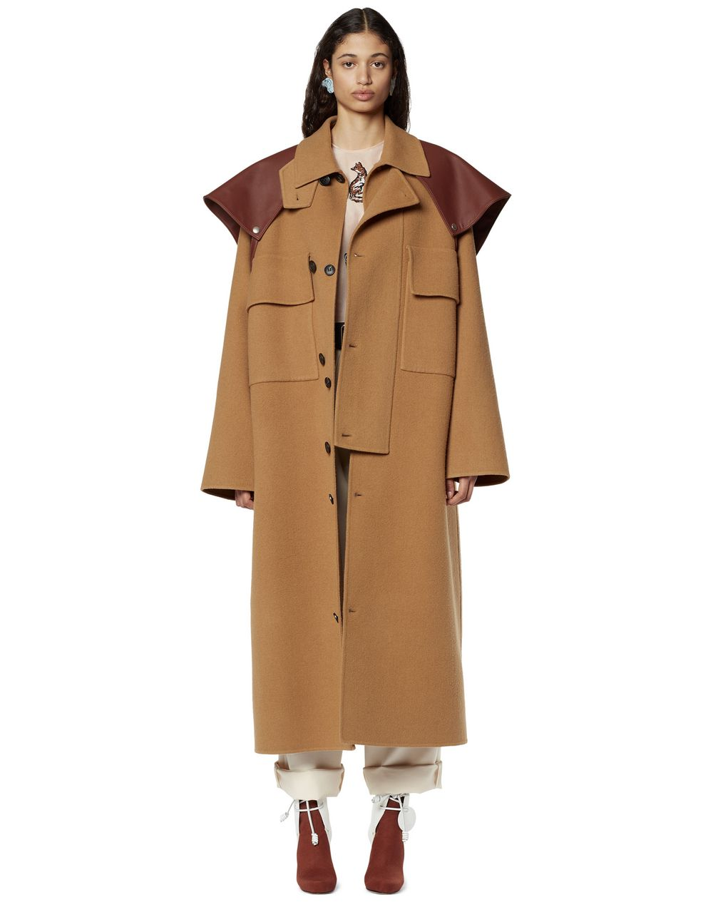 WOOL COAT WITH DETACHABLE CAPE - Lanvin