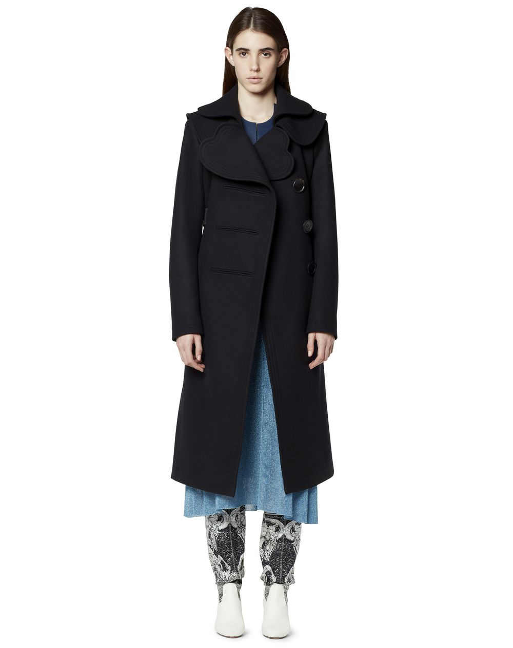 LONG WOOL COAT WITH HEART-SHAPED COLLAR - Lanvin