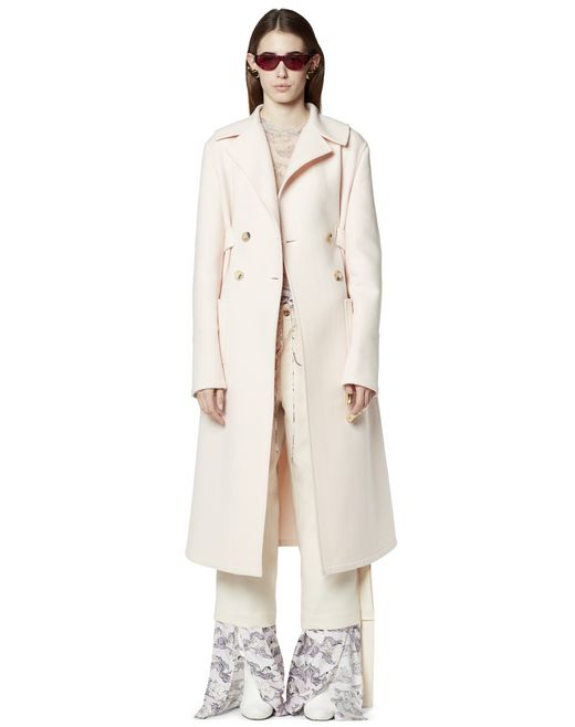 LONG COTTON AND CASHMERE COAT - Lanvin