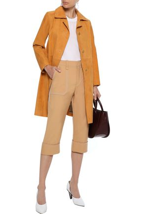 Theory Woman Suede Coat Saffron