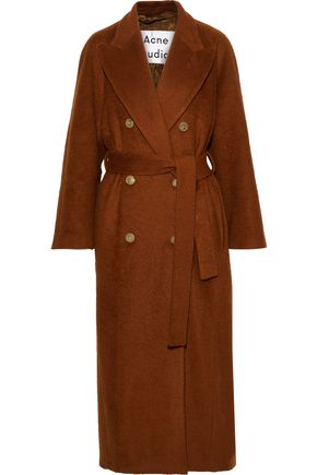 ACNE STUDIOS Double-breasted belted mohair-blend coat