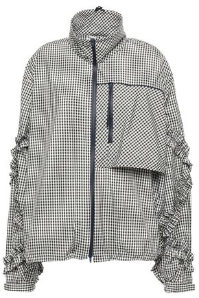 3.1 PHILLIP LIM Ruffle-trimmed gingham shell track jacket