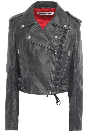 McQ Alexander McQueen Lace-up cracked-leather biker jacket