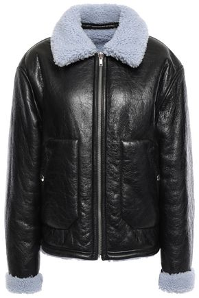 McQ Alexander McQueen Reversible shearling-trimmed cracked-leather jacket