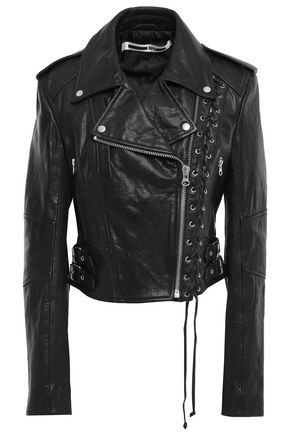 McQ Alexander McQueen Cropped lace-up textured-leather biker jacket