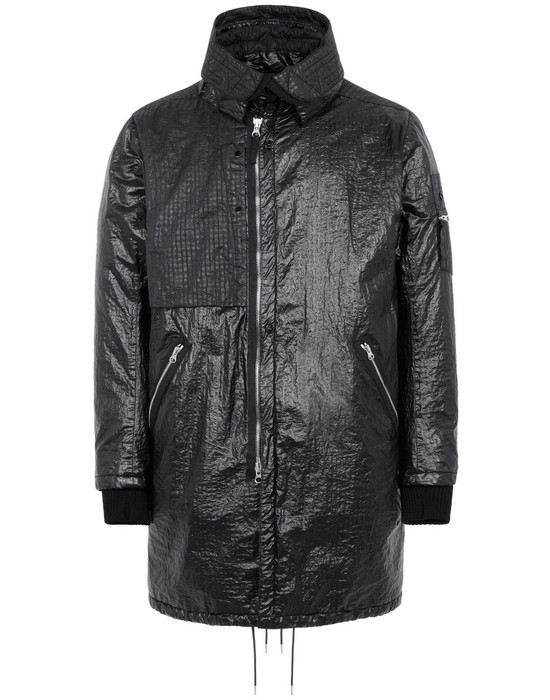 STONE ISLAND SHADOW PROJECT 70403 QUILTED FISHTAIL PARKA WITH HAND GAITER  LONG JACKET Man Black