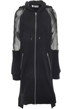 McQ Alexander McQueen Mesh-paneled French cotton-terry hooded jacket