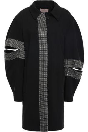 CHRISTOPHER KANE Crystal-embellished cutout twill coat