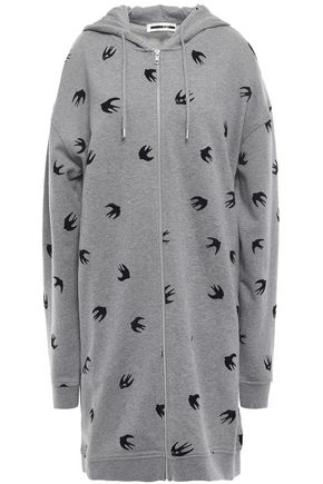 McQ Alexander McQueen Flocked French cotton-terry hooded jacket