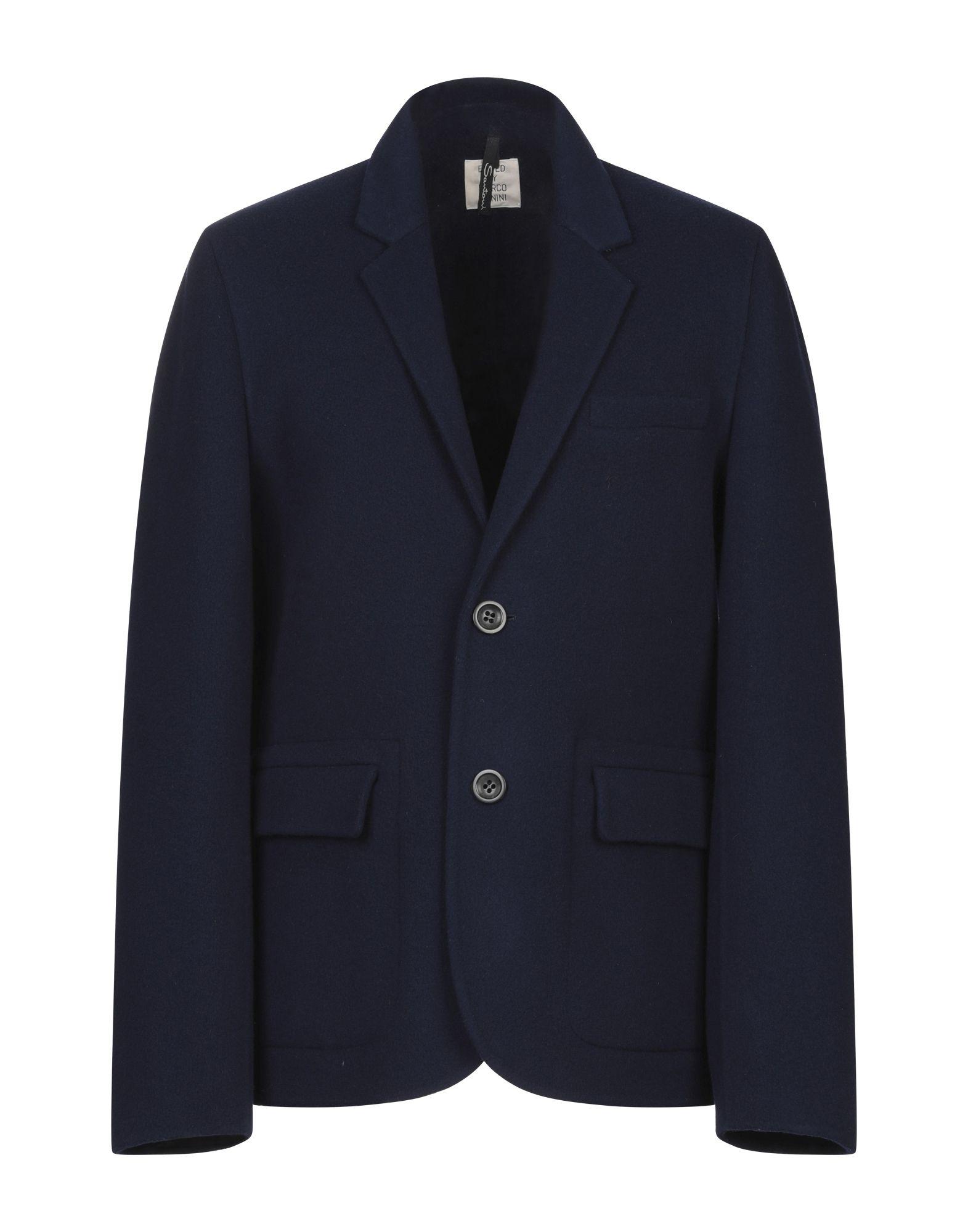 《セール開催中》SANTONI EDITED by MARCO ZANINI メンズ コート ダークブルー 52 ウール 100%
