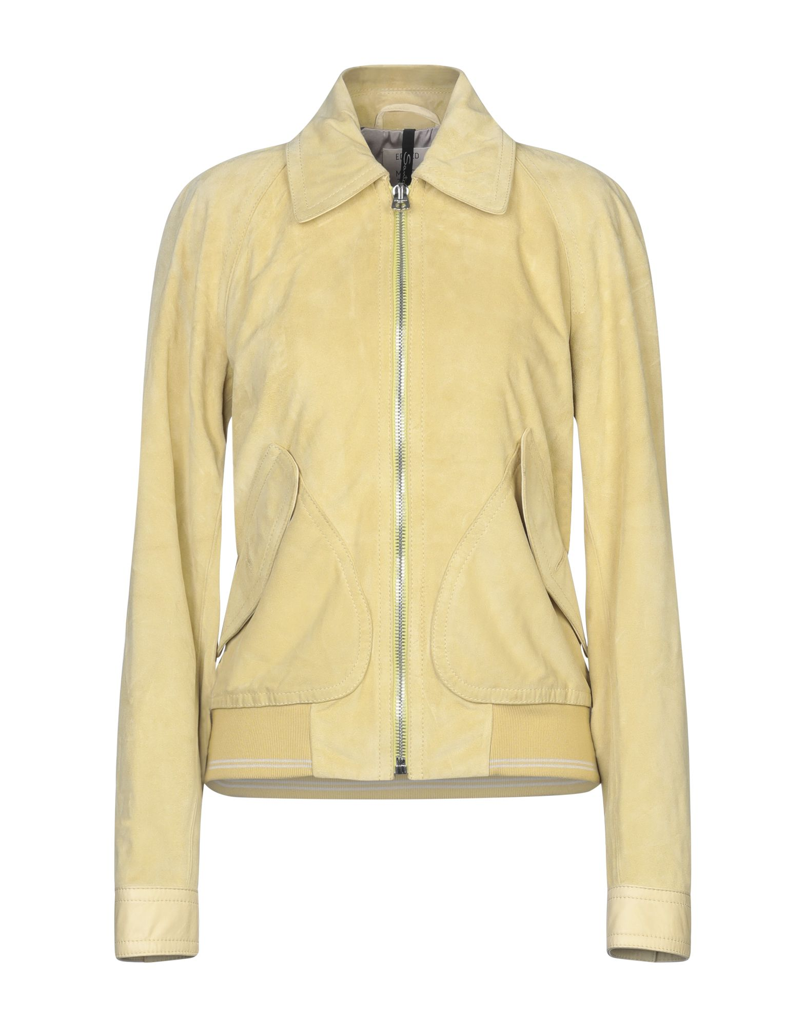 SANTONI Jackets. leather, suede effect, solid color, single-breasted, zip, logo, classic neckline, multipockets, long sleeves, dual cuffs, fully lined, contains non-textile parts of animal origin. Soft Leather