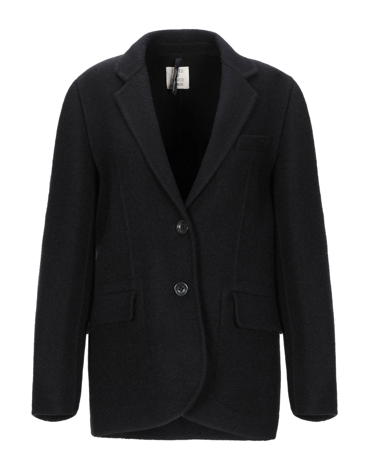 《セール開催中》SANTONI EDITED by MARCO ZANINI レディース テーラードジャケット ブラック 40 バージンウール 71% / モヘヤ 29%