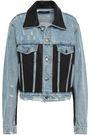 AMIRI Leather-paneled distressed denim jacket