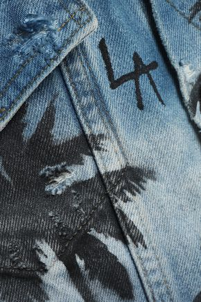 AMIRI Distressed printed denim jacket