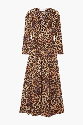 WE ARE LEONE Leopard-print silk crepe de chine cardigan