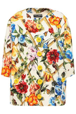 DOLCE & GABBANA Printed wool and silk-blend crepe jacket