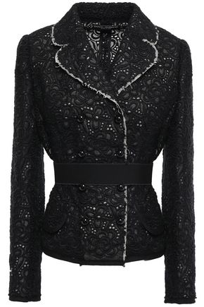 DOLCE & GABBANA Belted broderie anglaise wool-blend blazer