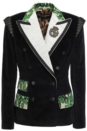 DOLCE & GABBANA Double-breasted embellished cotton-blend blazer