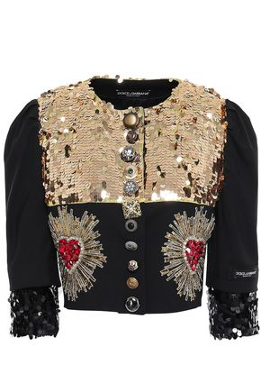 DOLCE & GABBANA Embellished wool-blend jacket