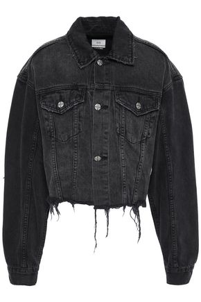 KSUBI Cropped appliquéd frayed denim jacket