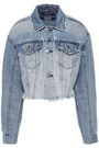 KSUBI Cropped distressed denim jacket