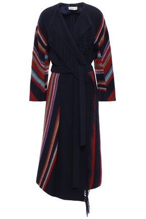 TORY BURCH Belted fringe-trimmed striped wool coat