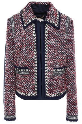 TORY BURCH Paneled frayed tweed and jersey jacket