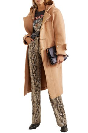 R13 Coats R13 WOMAN BRUSHED WOOL-FELT HOODED COAT CAMEL