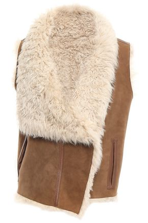 METEO by YVES SALOMON Reversible leather-trimmed shearling vest
