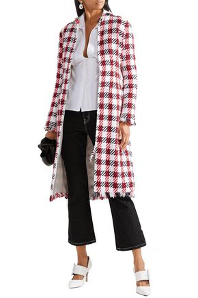 Oscar De La Renta Coats OSCAR DE LA RENTA WOMAN FRINGED COTTON-BLEND BOUCLÉ-TWEED COAT WHITE