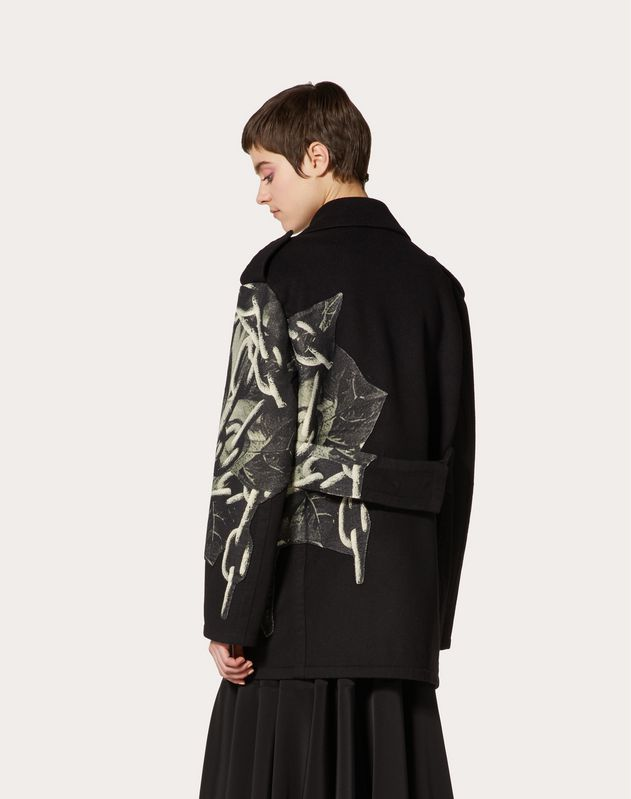 Compact Drap Pea Coat with Applied Undercover Print