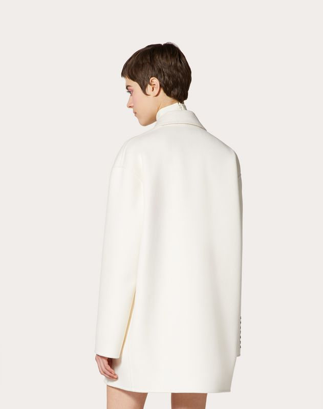 Compact Drap Coat with Poetry Detailing