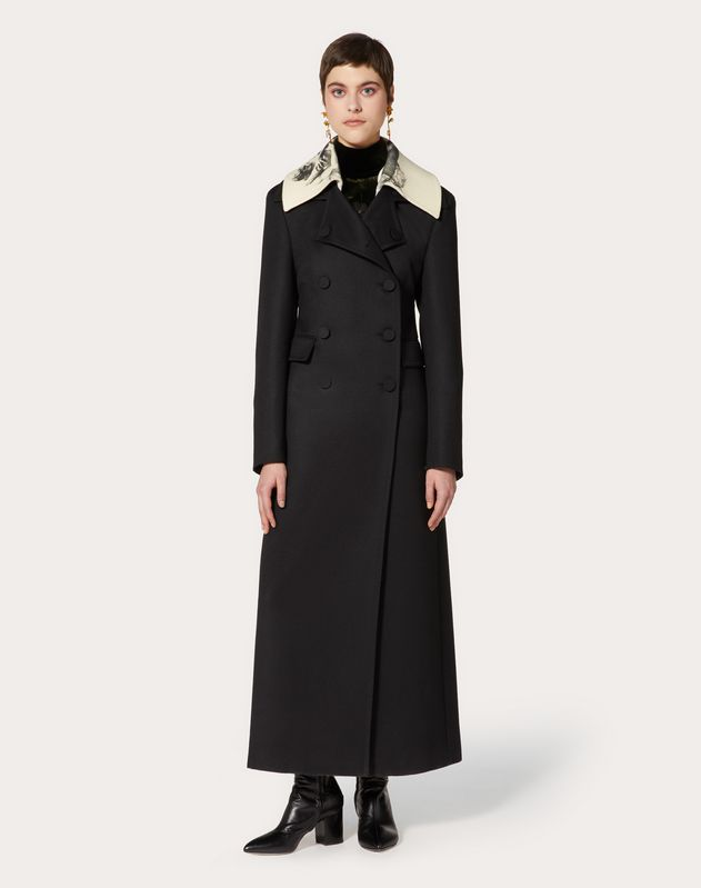 Light Drap Wool Coat with Undercover Print Collar