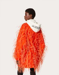 Feather Embroidery Couture Drap Coat