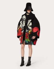 Compact Drap Coat with Applied Undercover Embroidered Print