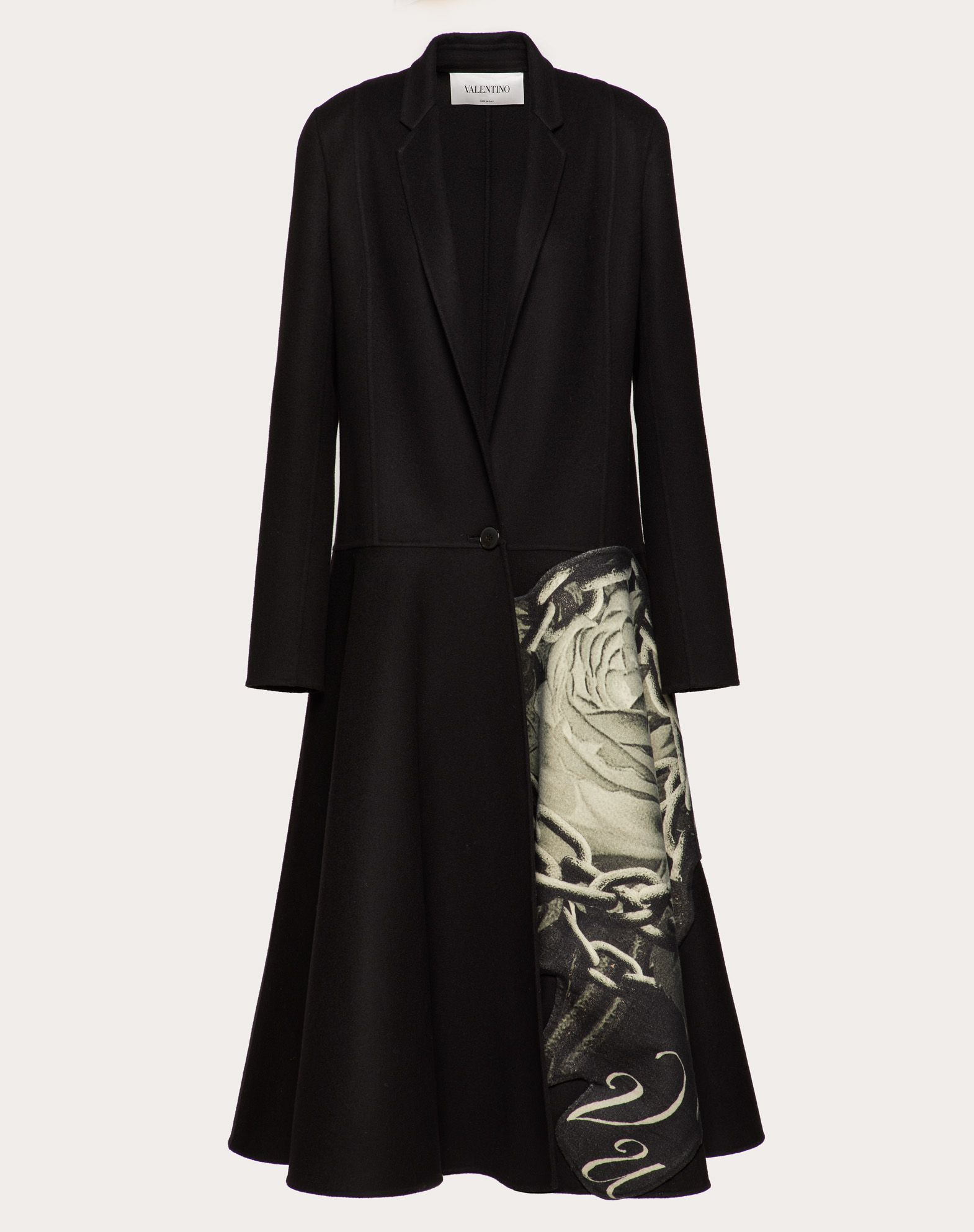Compact Drap Coat with Applied Undercover Print