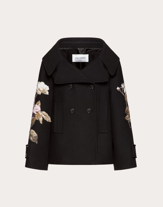 Drill Drap Pea Coat with Embroidered Undercover Patch